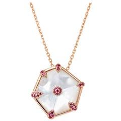 Fei Liu Hexagon Mother-of-Pearl and Diamonds 18 Karat Rose Gold Pendant