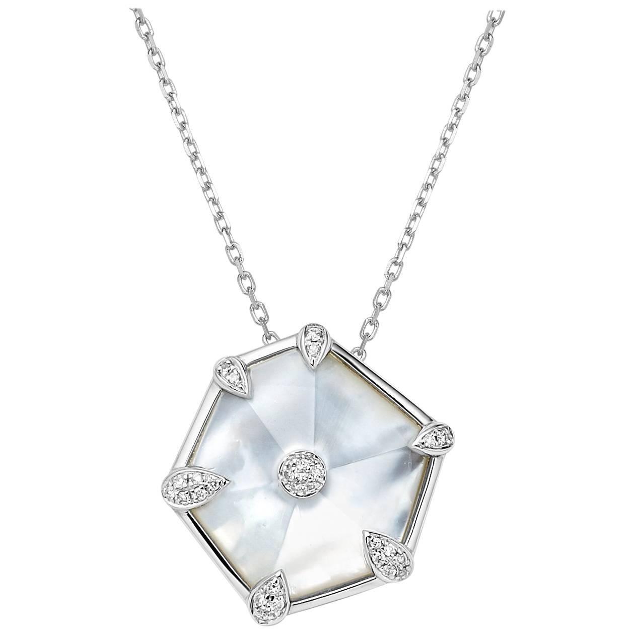 Fei Liu Mother of Pearl Diamond 18 Karat White Gold Hexagon Pendant Necklace