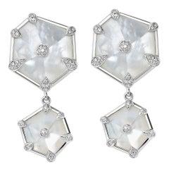 Fei Liu Hexagon Mother-of-Pearl and Diamonds 18 Karat White Gold Drop Earrings