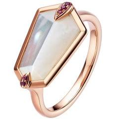 Fei Liu Kite Mother-of-Pearl, Pink Sapphires 18 Karat Rose Gold Cocktail Ring