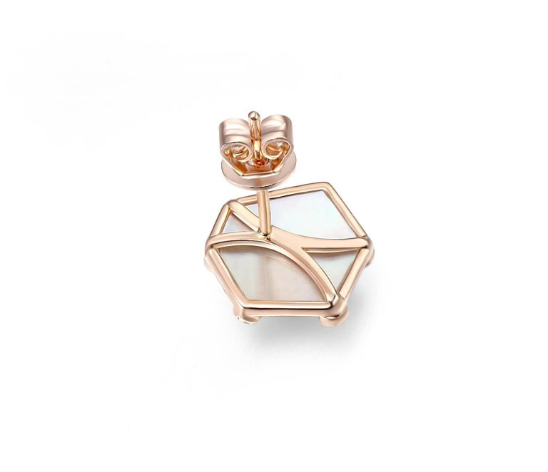 Contemporary Fei Liu Rose Gold Hexagon Shape Stud Earrings with Pink Sapphires For Sale