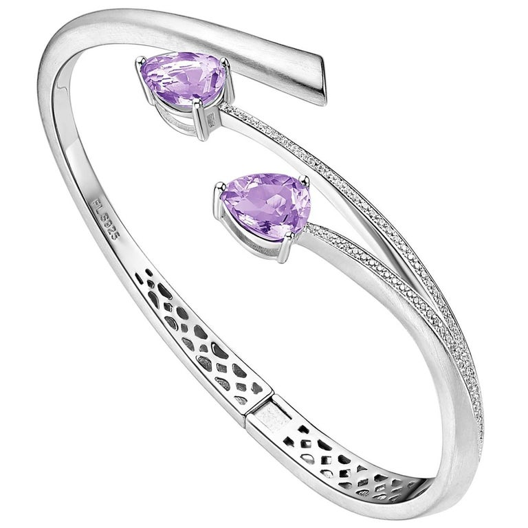 Fei Liu Shooting Star Purple Amethyst and Cubic Zirconia Bangle Bracelet
