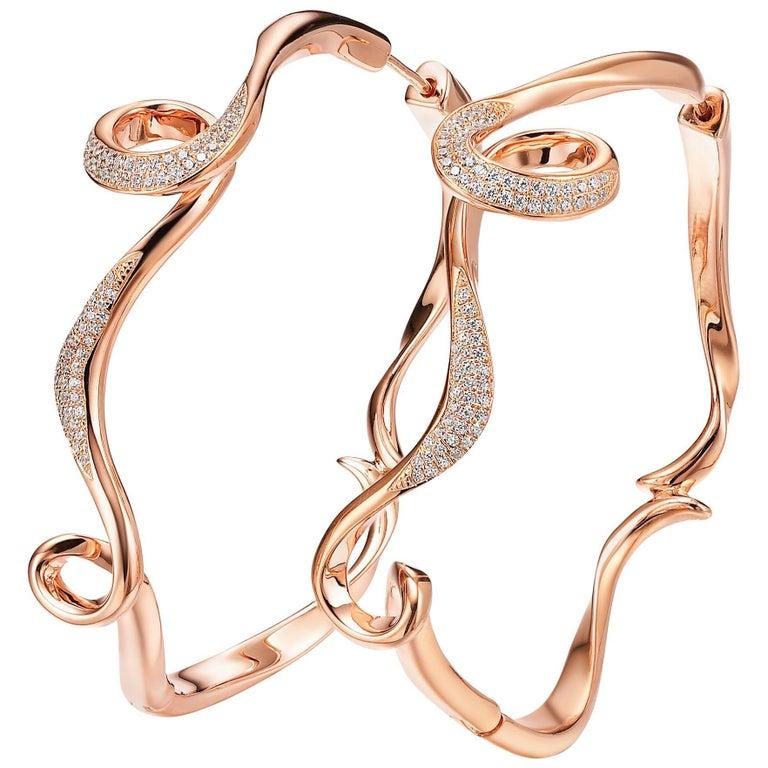 Fei Liu Serenity Cubic Zirconia Rose Gold Plate Large Hoop Earrings For Sale