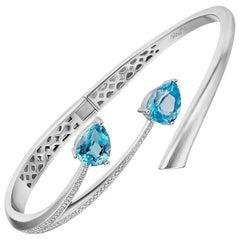 Fei Liu Shooting Star Silver Blue Topaz Bangle Bracelet