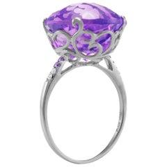 Fei Liu Large Round Purple Amethyst Cocktail Ring
