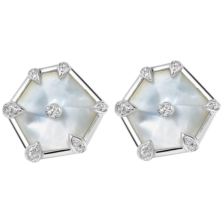 Fei Liu White Gold Hexagon Shape Stud Earrings with Diamonds, Mother-of-Pearl