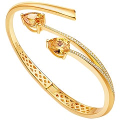 Fei Liu Shooting Star Yellow Citrine and Cubic Ziconia Sliver Bangle Bracelet