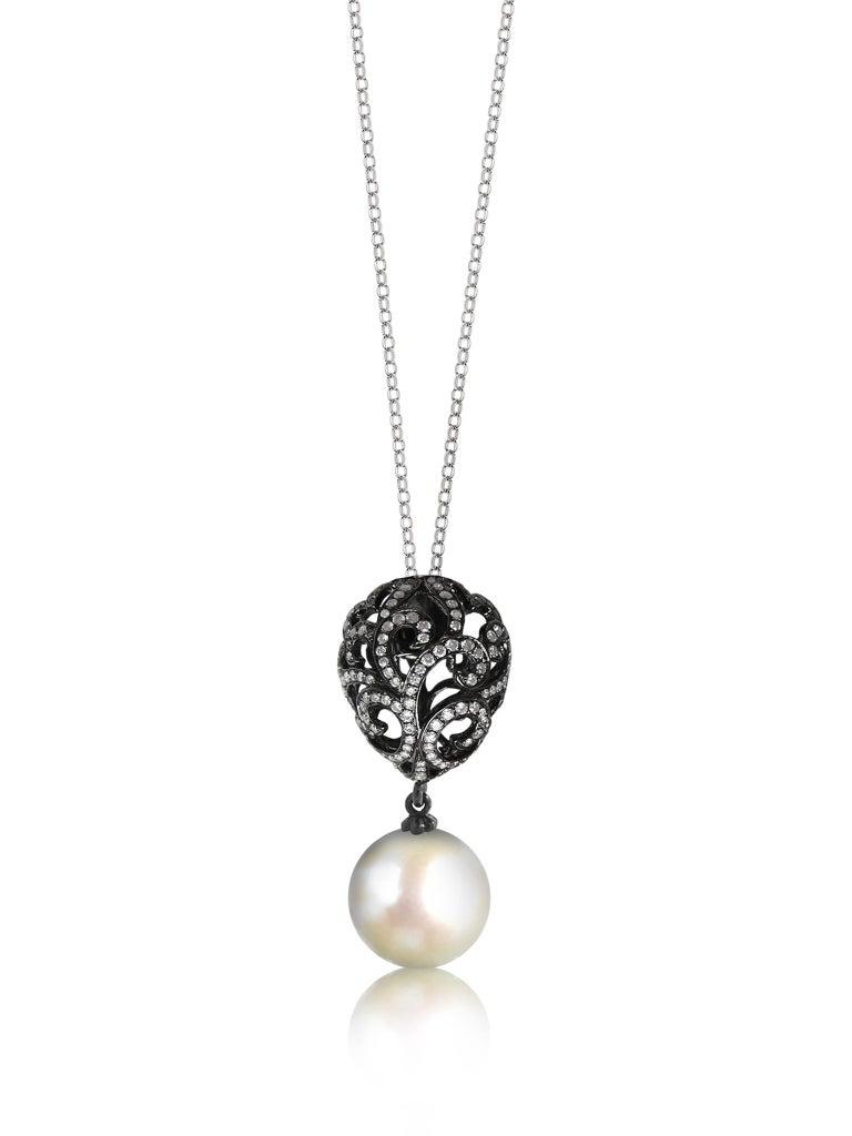Contemporary Fei Liu Diamond Small Filigree Egg 18 Karat White Gold Earrings with Pearl Drop For Sale