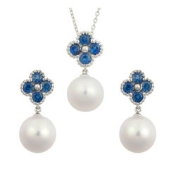 Fei Liu 18 Karat Clover White Gold Blue Sapphire and Water Pearls Set