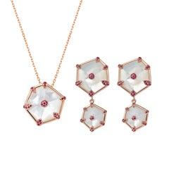 Fei Liu Hexagon Mother of Pearl, Pink Sapphires 18 Karat Rose Gold Set