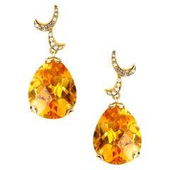 Fei Liu 18 Karat Yellow Gold Citrine Small Pear Drop Earrings