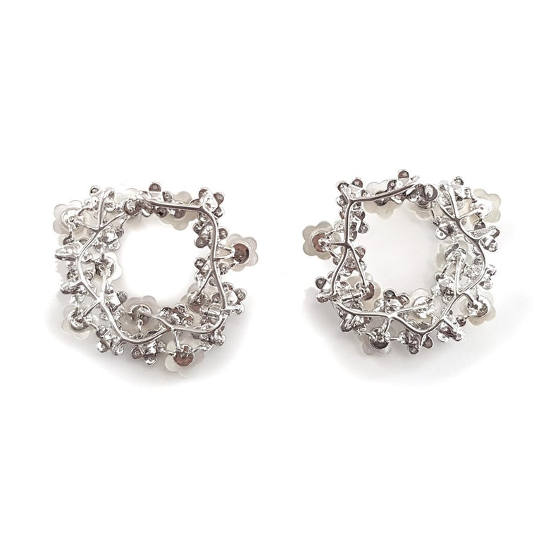 Contemporary Fei Liu 18 Karat White Gold Stud Earrings with Mother of Pearls For Sale