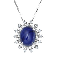 Fei Liu 18 Karat White Gold Pearl Necklace with Sapphire and Diamonds