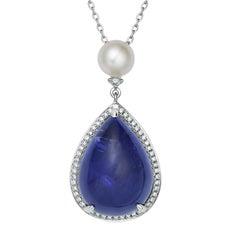 Fei Liu 18 Karat White Gold Blue Tanzanite Necklace with Pearl and Diamonds