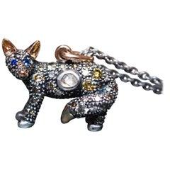 18 Karat Rose Gold Sterling Silver Fox Diamond Pendant Necklace