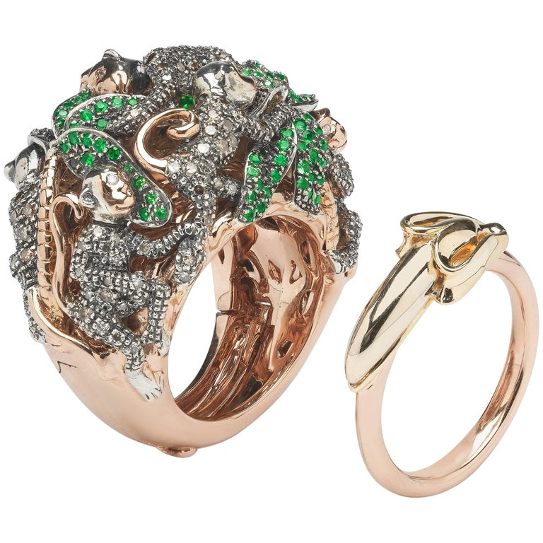 18k Rose Gold Sterling Silver Diamond Monkey Ring in a Ring For Sale