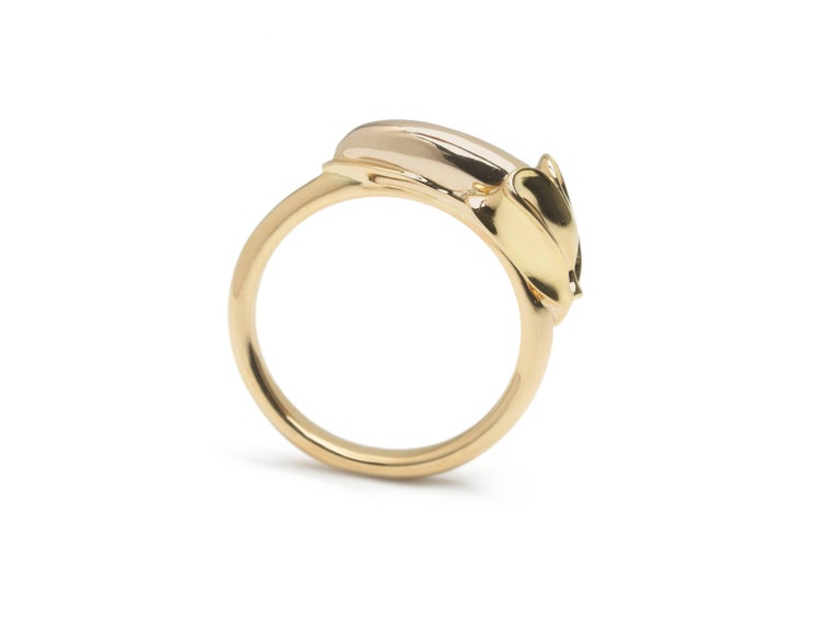 Contemporary 18k Rose Gold Sterling Silver Diamond Monkey Ring in a Ring For Sale