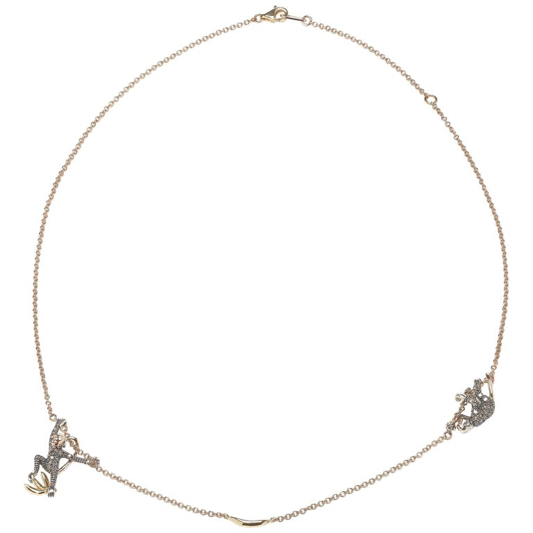 18k Rose Gold with Diamonds and Sterling Silver Monkey Duo Necklace For Sale