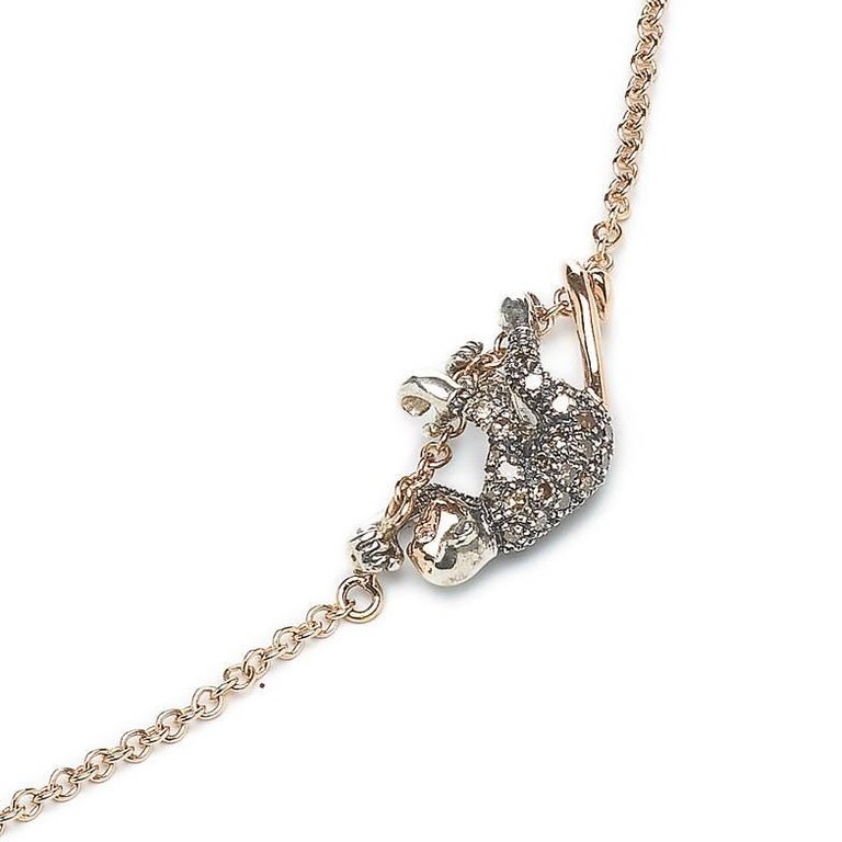 Contemporary 18k Rose Gold with Diamonds and Sterling Silver Monkey Duo Necklace For Sale