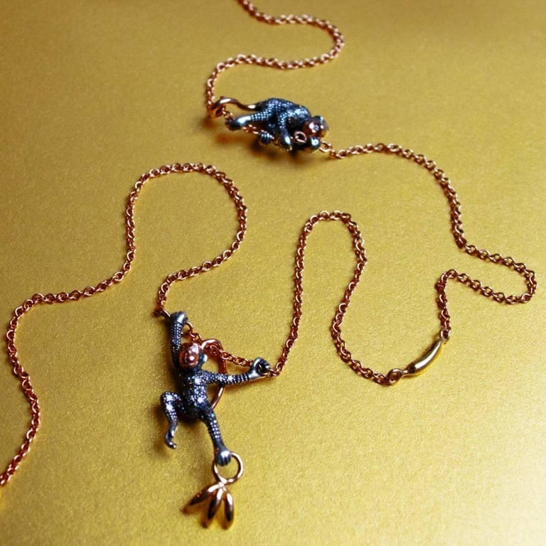 18k Rose Gold with Diamonds and Sterling Silver Monkey Duo Necklace In New Condition For Sale In Amsterdam, NL