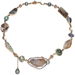 Galaxy 18 Carat Gold Opals Sapphires Diamond Necklace