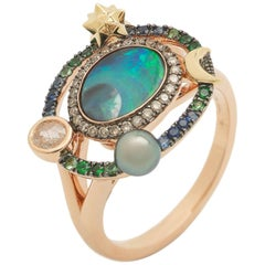 18k Rose and Yellow Gold Opal Gemstone Sapphire and Rose Cut Diamond Galaxy Ring