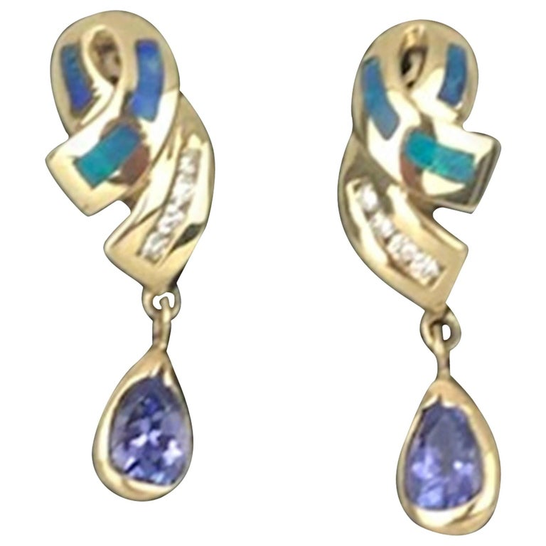 Tanzanite and Opal, Diamond Earrings 14 Karat, circa 1985 Dangle