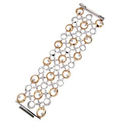 Certified 2,02 Carat Diamond Gold Wide Cuff Bracelet