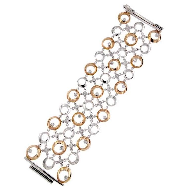 Certified 2,02 Carat Diamond Gold Wide Cuff Bracelet