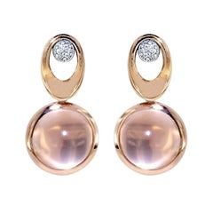 Certified Pink Gold Diamond Earrings Three Pairs of Interchangeable Pendants