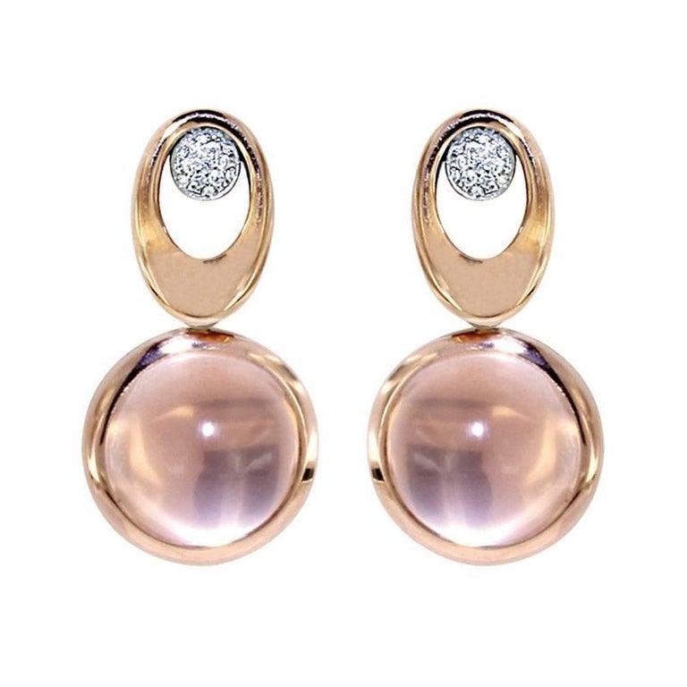 Certified Pink Gold Diamond Earrings Three Pairs of Interchangeable Pendants