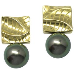 Square 14 Karat Yellow Gold Drop Earrings with 9-10mm Tahitian Pearls
