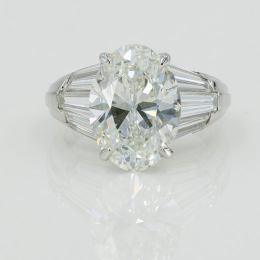 792a0010f0127 Lester Lampert 5.05cts Oval cut Diamond Ring - G / VS1 w/GIA papers in Plat