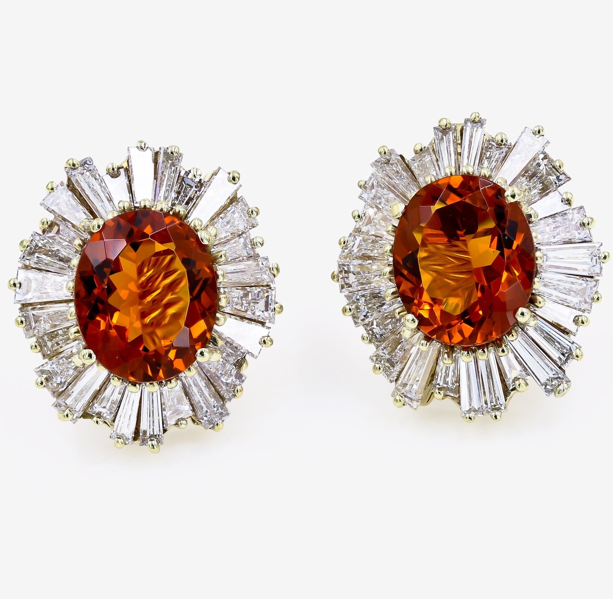 Large Oval Citrine And Baguette Diamond Earrings In 18 Karat Yellow Gold For At 1stdibs