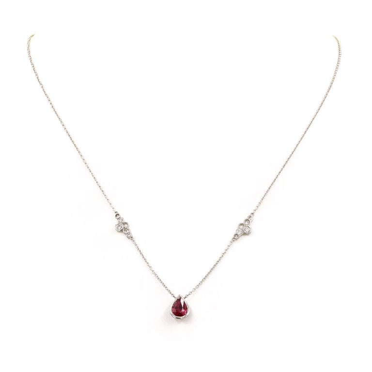 Lester Lampert Original Pirouette Diamond Necklace with Pear Shape Ruby Center In New Condition For Sale In Chicago, IL