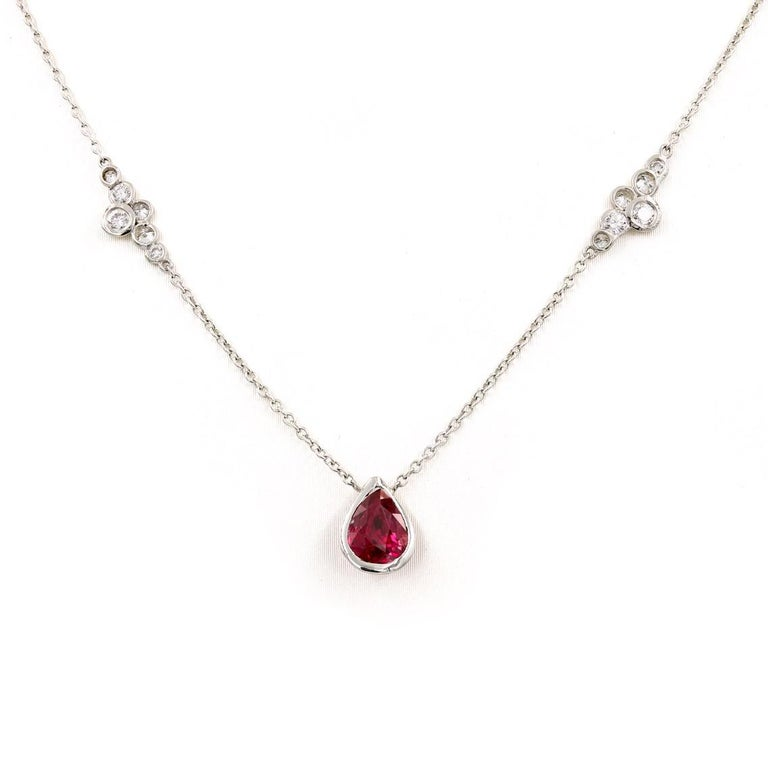 Contemporary Lester Lampert Original Pirouette Diamond Necklace with Pear Shape Ruby Center For Sale