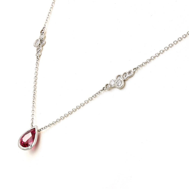 Pear Cut Lester Lampert Original Pirouette Diamond Necklace with Pear Shape Ruby Center For Sale