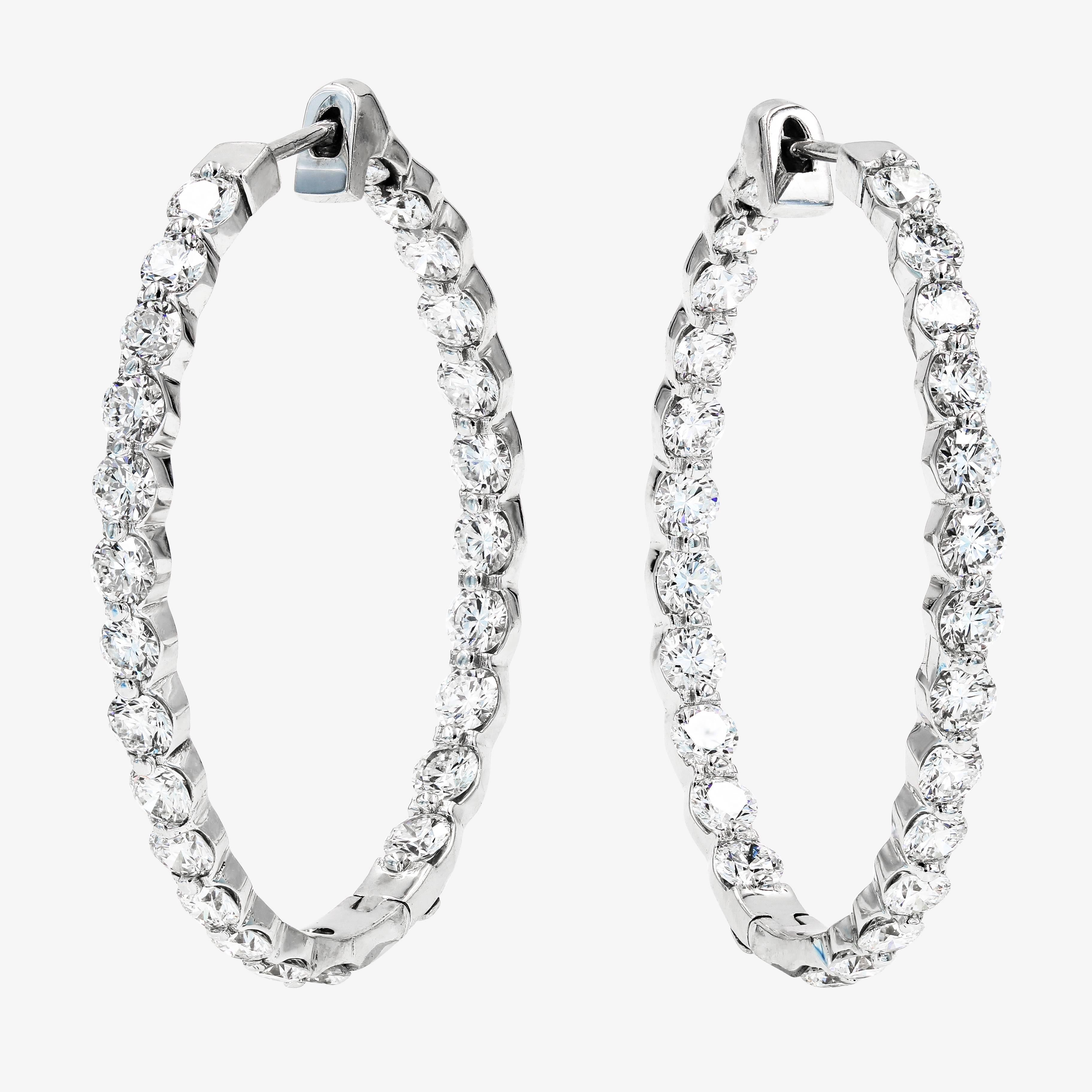 Large Diamond Hoop Earrings With Round Ideal Cut Diamonds In
