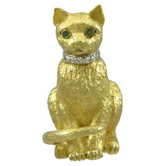 Tiffany & Co. Emerald Diamond Gold Cat Pin