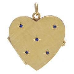 Sapphire Gold Heart Locket