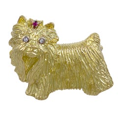 Ruby Diamond Gold Yorkie Pin
