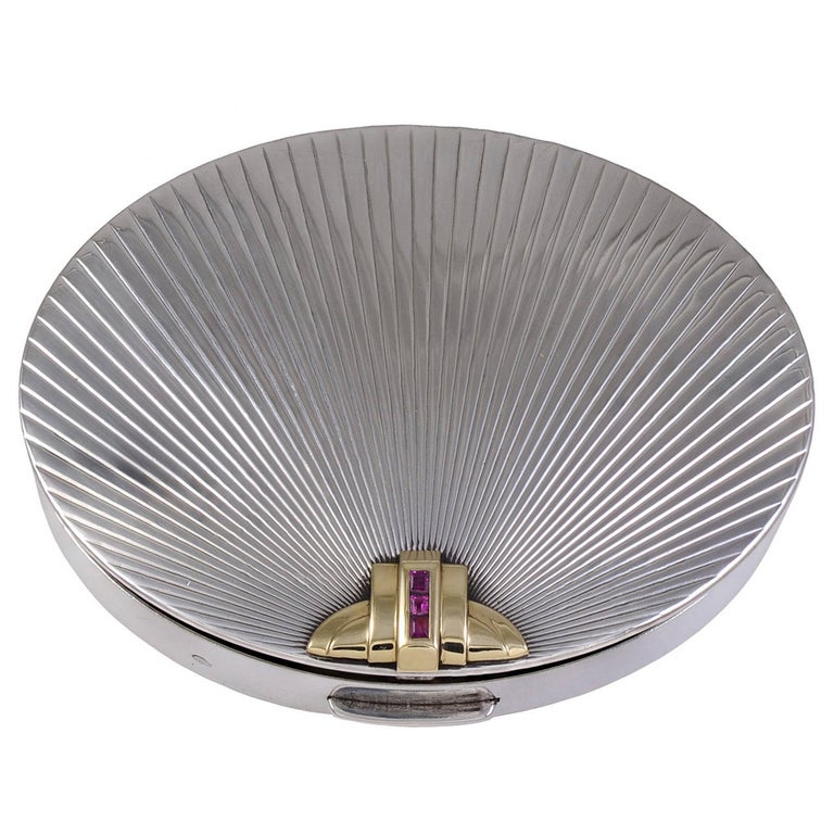 Tiffany & Co. Ruby Silver Gold Compact For Sale