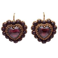 Antique Heart Shaped Garnet Earrings