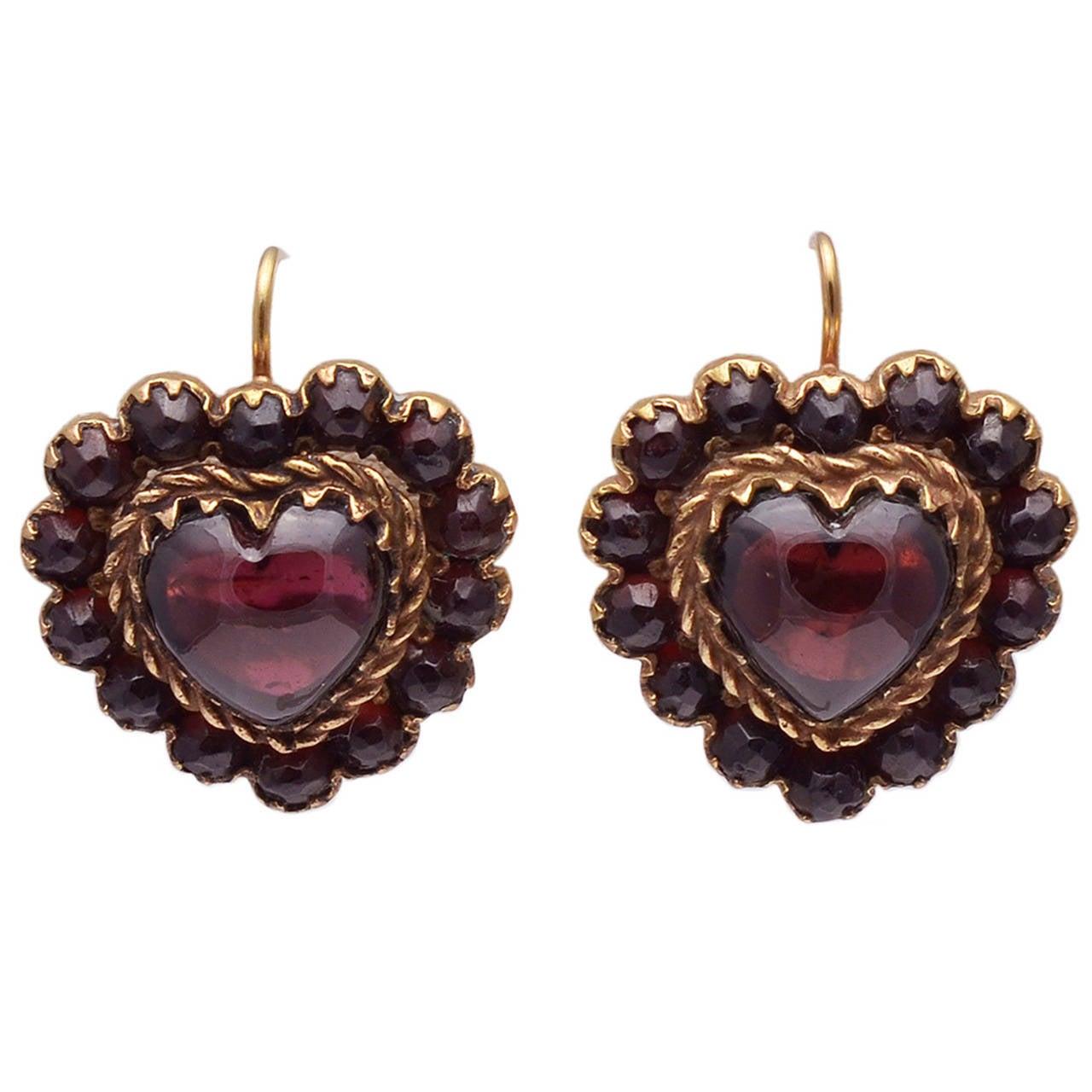 Antique Heart Shaped Garnet Earrings For