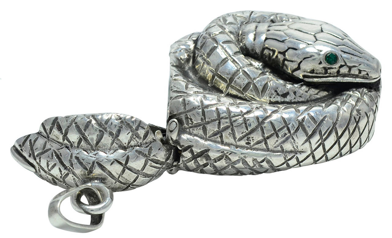 Antique Sterling Silver Snake Match Safe In Excellent Condition For Sale In New York, NY