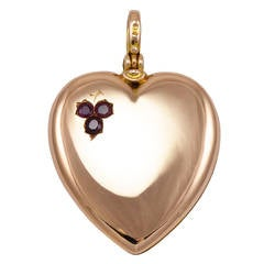 Heart Shaped Ruby Gold Antique Locket