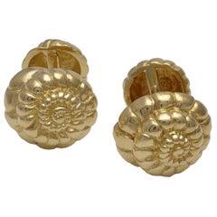 Gold Figural Shell Cufflinks