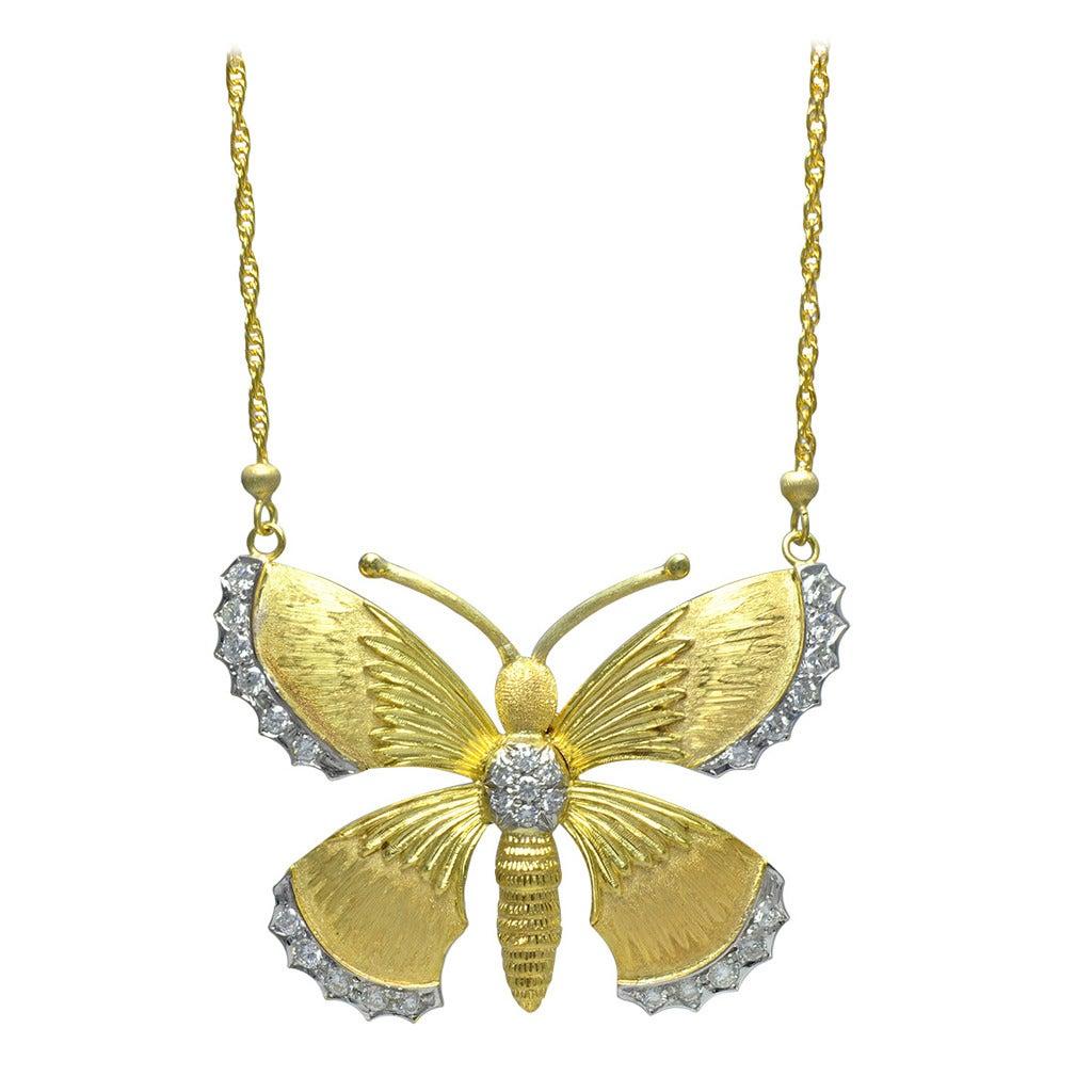 M. Buccellati Diamond Gold Butterfly Necklace