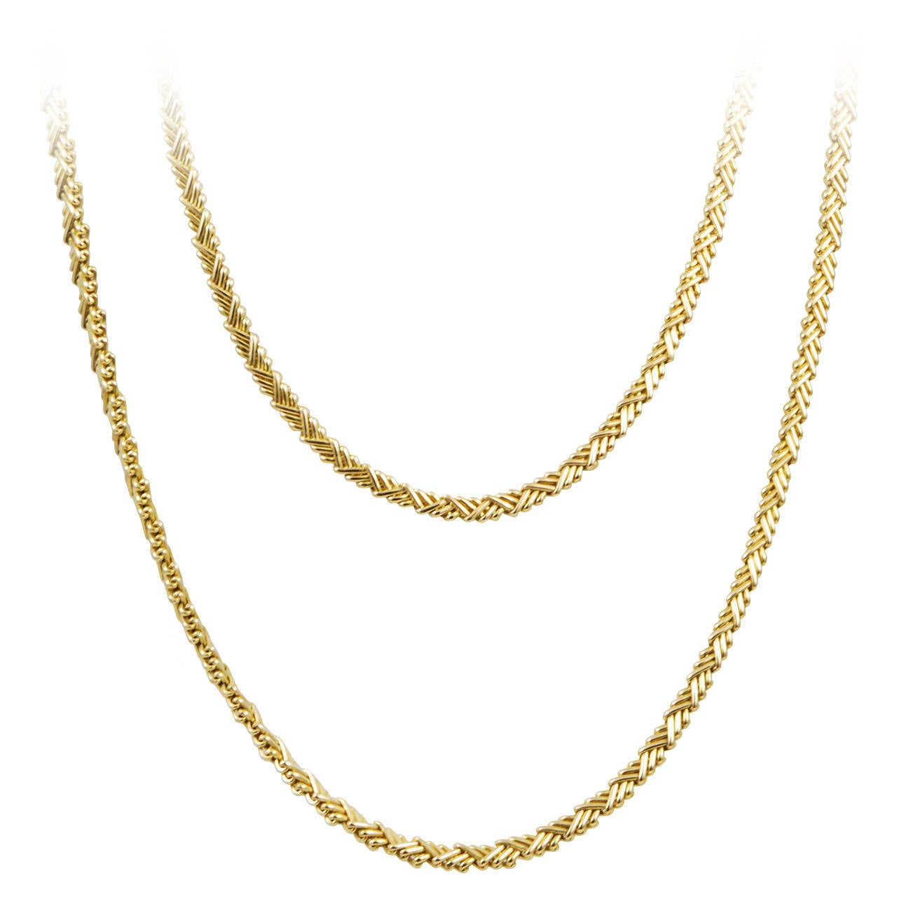 Cartier Long and Flexible Gold Necklace For Sale