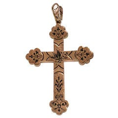 Antique Large Enamel Gold Cross Pendant